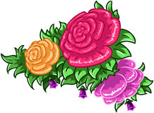 Roses and Leaves. Vector illustration of colorful flowers and leaves royalty free illustration