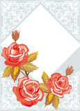 Roses on light blue decorated background Royalty Free Stock Images