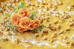 Roses and paper hearts Royalty Free Stock Photography