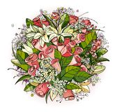 Roses and Lily Flowers Bunch Illustration Royalty Free Stock Image