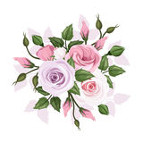 Roses and lisianthus flowers. Royalty Free Stock Photo
