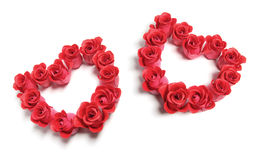 Roses Love Hearts. On Isolated White Background stock photo