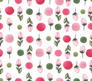 Roses lumineuses d'aquarelle et Dots Repeat Pattern coloré Images stock