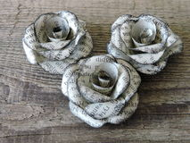 Roses made from old newspaper royalty free stock image