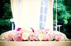 Roses on the main table. Floral arrangement, that can be used for decorating tables at the wedding Stock Photo