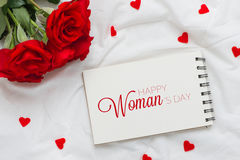 Roses with 8 march International Womans Day on Paper. Roses with 8 march International Womans Day on Paper Stock Image