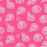 Roses modern design seamless pattern. Vector illustration isolated on pink background. Cute hand draw flowers vector illustration
