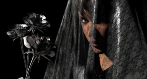 Roses noires de femme photo libre de droits