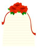 Roses note paper Royalty Free Stock Images