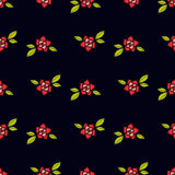 Roses in the old style tattoo. Floral pink seamless pattern on a black background Stock Photo