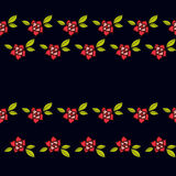 Roses in the old style tattoo. Floral pink seamless pattern on a black background Stock Photos