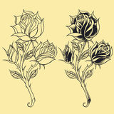 Roses Oldskool Tattoo style elements 02. Roses Oldskool Tattoo style design elements 02 Vector for use stock illustration