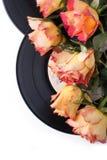 Roses oranges avec de vieux enregistrements au-dessus de blanc Image libre de droits
