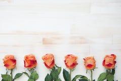 Roses oranges sur le fond en bois rustique blanc Photo stock