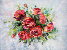 Roses. Original  abstract oil painting of beautiful  fresh bouquet of roses  on canvas.Modern Impressionism, modernism,marinism Stock Images