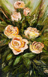 Roses. Original  abstract oil painting of beautiful  fresh bouquet of roses  on canvas.Modern Impressionism, modernism, marinism Royalty Free Stock Image