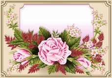 Roses Ornament on Vintage Frame Stock Photography