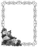 Roses Ornamental Border Black white. Roses monochrome ornamental frame or background for wedding, birthday, Valentine invitation, card, border with copy space Royalty Free Stock Photo