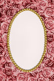 Roses and oval frame Royalty Free Stock Photo
