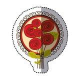 roses ovales de couleur et icône décorative d'emblème illustration stock