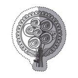 roses ovales de silhouette et icône décorative d'emblème illustration libre de droits