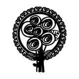 roses ovales et icône décorative d'emblème illustration libre de droits