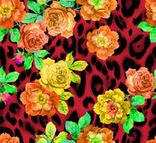 Roses over animal ~ seamless background Stock Photo