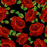 Roses over black pattern. Seamless background design with stylized red roses over black Stock Photo