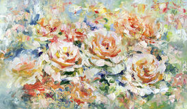 Roses, painting. Roses, oil painting on canvas Stock Image