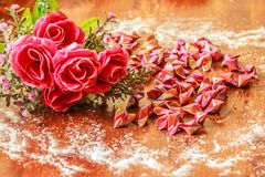 Roses and paper hearts Royalty Free Stock Photo