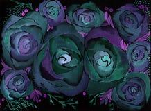 roses Papier peint abstrait avec des motifs floraux watercolor Agencement de fleur décoratif illustration libre de droits