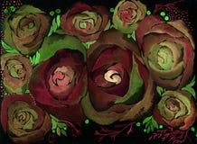 roses Papier peint abstrait avec des motifs floraux watercolor Agencement de fleur décoratif illustration de vecteur