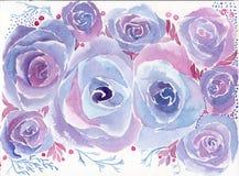 roses Papier peint abstrait avec des motifs floraux watercolor wallpaper Agencement de fleur décoratif illustration de vecteur