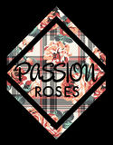 Roses passion. Artwork for women wear with scottish and floral background in custom colors royalty free illustration