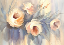 Roses pastel bouquet watercolor Stock Image