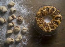 Roses pastry on a wooden table with the ingredients Royalty Free Stock Images