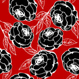 Roses pattern. Background illustration with black roses, pattern Royalty Free Stock Photo