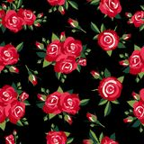 Roses pattern on black Royalty Free Stock Photos