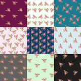 Roses patterns. Pattern set of motif with roses Stock Photo