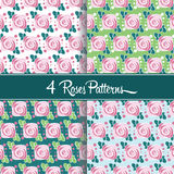 4 Roses patterns. 4 Roses seamless vector patterns Stock Image