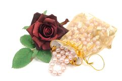 Roses and pearls Royalty Free Stock Image