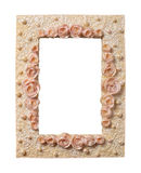 Roses-and-Pearls Frame. Elegant frame with roses and pearls isolated on white Royalty Free Stock Photo