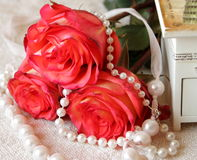 Roses with pearls Stock Photography