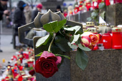 Roses on the pedestal of the Wenceslas monument Stock Photo