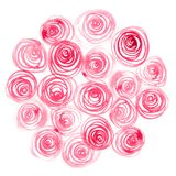 Roses peintes par aquarelle Photos stock