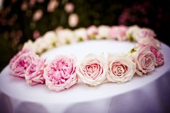 Roses and peonies bridal wreath Stock Photo