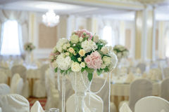 Roses peony flower arrangement white gold color decoration. Roses peony flower arrangement white color decoration Stock Photography