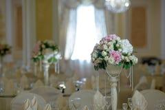 Roses peony flower arrangement white gold color decoration. Roses peony flower arrangement white color decoration Stock Photo
