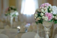 Roses peony flower arrangement white gold color decoration. Roses peony flower arrangement white color decoration Stock Photos