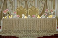 Roses peony flower arrangement white gold color decoration. Roses peony flower arrangement white color decoration Stock Images